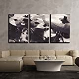 wall26 - 3 Piece Canvas Wall Art - Closeup View of Cymbals in Black and White. - Modern Home Decor Stretched and Framed Ready to Hang - 24''x36''x3 Panels