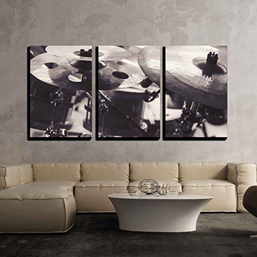 wall26 - 3 Piece Canvas Wall Art - Closeup View of Cymbals in Black and White. - Modern Home Decor Stretched and Framed Ready to Hang - 16