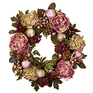 Nearly Natural 4930 Peony Hydrangea Wreath, 24-Inch, Autumn 9