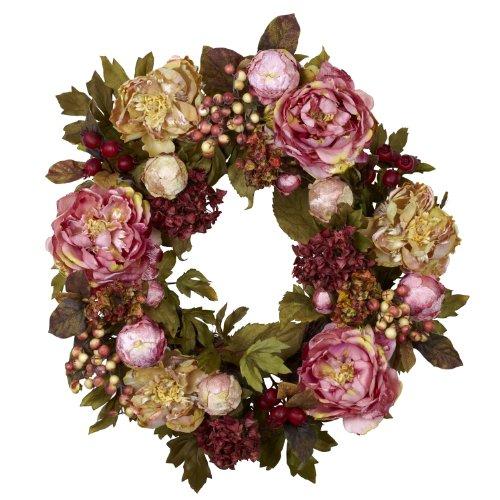 Nearly Natural 4930 Peony Hydrangea Wreath, 24-Inch, - Wreath Hydrangea