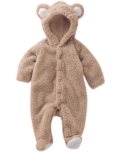 DAIMIDY Infant Baby Boys Girls Cute Bear Style Ears Hooded Winter Warm Fleece Footie Romper One-Piece Hoodie Jumpsuit Outfits, Brown, Age 12M - 18M (12-18 Months) = Label 80
