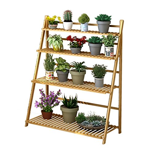 4 Tier Foldable Bamboo Wooden Flower Display Rack, Indoor Flower Stand, Multifunction Retro Plant Stairs for Garden/Indoor/Outdoor/Balcony Flower Shelves-H100xW45xL122cm