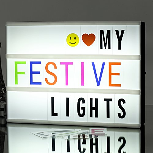 Cinema Light Box A4 Size DIY LED Light Box, Include 271 Changeable Letters with Emoticons, Symbols and Numbers Apply for Home and Wedding Decor by ONMIER