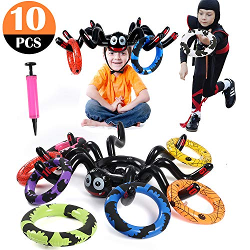 Halloween Different Games (Inflatable Spider Ring Toss Game for Kids Adults Perfect for Halloween Party Favors Halloween)
