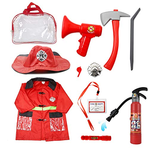 (Mizzuco Kids Fireman Gear Firefighter Costume Role Play Dress-up Toy Set with Real Water Shooting Extinguisher (10pcs) (Fireman)