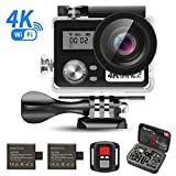 4K 16MP UHD Sport Camera, J-DEAL WiFi Action Waterproof Camera, 170 Degree Wide Angle Lens, Dual Screen, 2 Rechargeable Battery, Outdoor Accessories Kits Digital Video Camera + hand carry kit bag