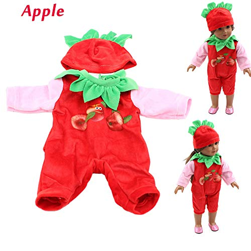 Denzar Baby Doll Clothes, Fruit Conjoined Clothes Doll Clothes Outfits for 18 Inch America Girls,Alive Baby Doll Handmade Lovely Dress Clothes Outfits Costumes Dolly Pretty Doll Clothes (Red) ()