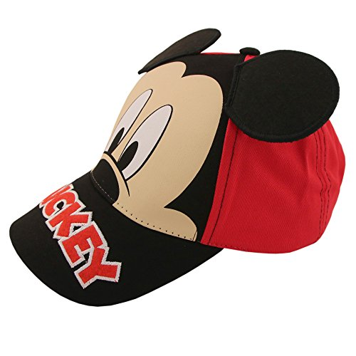 Disney Little Boys Mickey Mouse Character Cotton Baseball Cap, Red/Black, Age 2-7 (Toddler Boys - Age 2-4 - 51C)