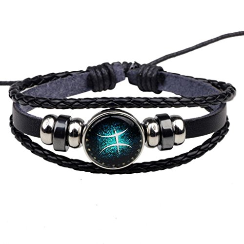 Challyhope Unisex Vintage 12 Constellations Adjustable Hand Woven Beaded Leather Hemp Rope Wrap Cuff Bracelets (Pisces)
