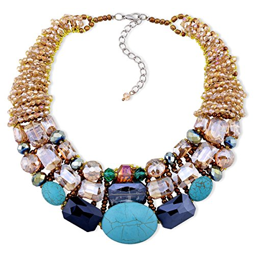 Crystal Turquoise Strands Statement Necklace for Women Fashion Chokers Necklace 1 Piece with Gift Bag
