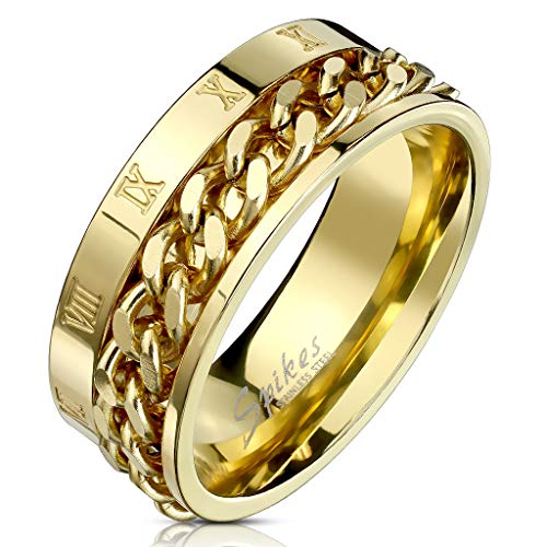 Blue Palm Jewelry - Rings Roman Numeral Spinner Chain Gold IP Stainless Steel Ring R693 ()