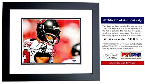 (Vincent Jackson Signed - Autographed Tampa Bay Buccaneers - Tampa Bay Bucs 8x10 inch Photo BLACK CUSTOM FRAME - PSA/DNA Certificate of Authenticity (COA))