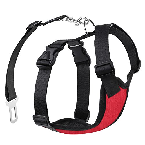 PAWABOO Dog Safety Vest Harness, Pet Dog Adjustable Car Safety Mesh Harness Travel Strap Vest with Car Seat Belt Lead Clip, Small Size, RED