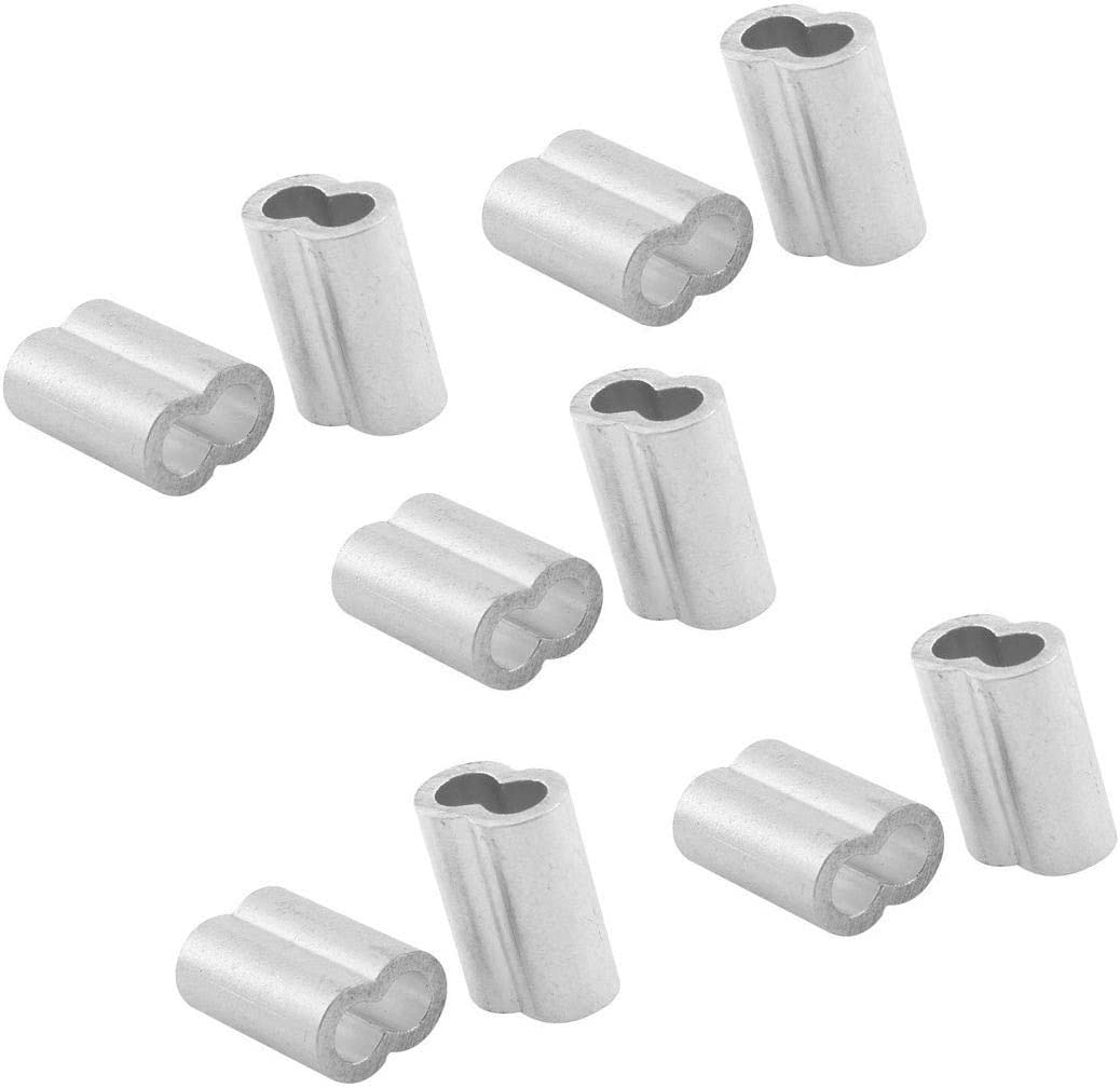 Ochoos New Wire Rope Aluminum Sleeves Clip Fittings Cable Crimps 100pcs