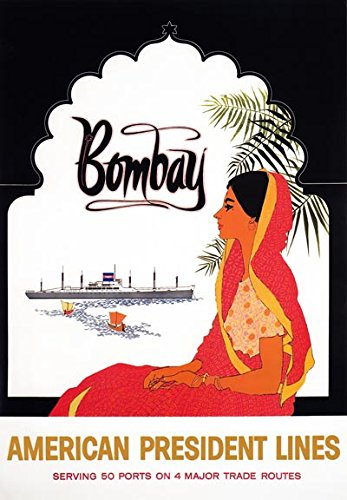 American Line Cruise Ship (TX355 Vintage Bombay India American Cruise Ship Line Travel Poster Re-Print - A4 (297 x 210mm) 11.7
