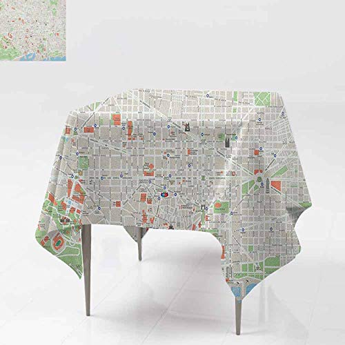 - AndyTours Spillproof Tablecloth,Map,Map of Barcelona City Streets Parks Subdistricts Points of Interests,Great for Buffet Table, Parties& More,60x60 Inch Beige Lime Green Pale Blue