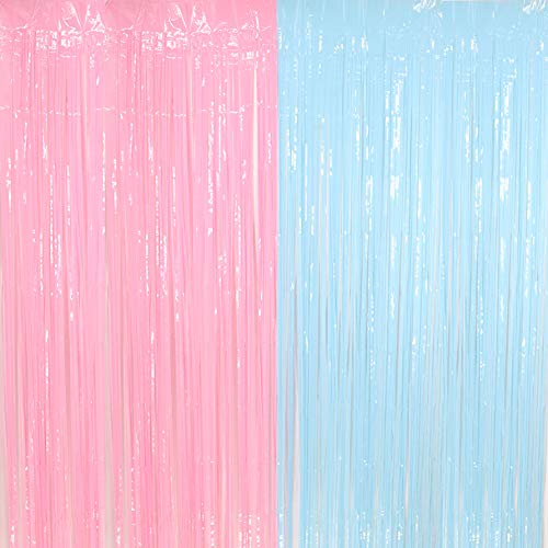 - Pastel Fringe Curtains 3.2 ft x 6.6 ft Baby Shower Gender Reveals Party Decoration Party Photo Backdrop (Pink/Blue)