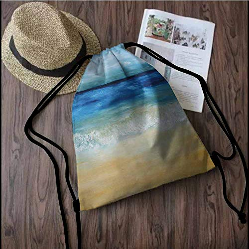 - Art Durable Drawstring Backpack Tropical Sandy Beach Pure Waves Tranquil Ocean under Clouds Summer Scenery Suitable for carrying around W13.8 x L17.7 Inch Navy Blue Light Brown