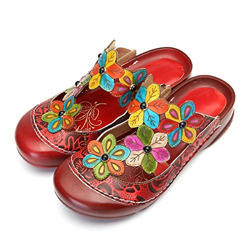 gracosy Women Leather Sandals, Summer Flat Slippers Colorful Flower Slip-on Loafers Comfort Outdoor Mule Clogs Shoes Red 12 M US