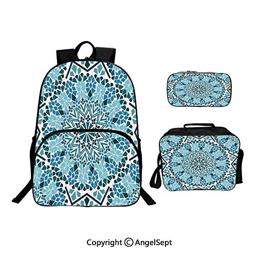 (Backpack With Lunch Bag Pencil Bag Three-piece,Moroccan Architecture Consists of Geometrically Patterned Mosaic and Stars Eastern Blue White,For Girls Water Resistant Colorful Christmas Gifts )