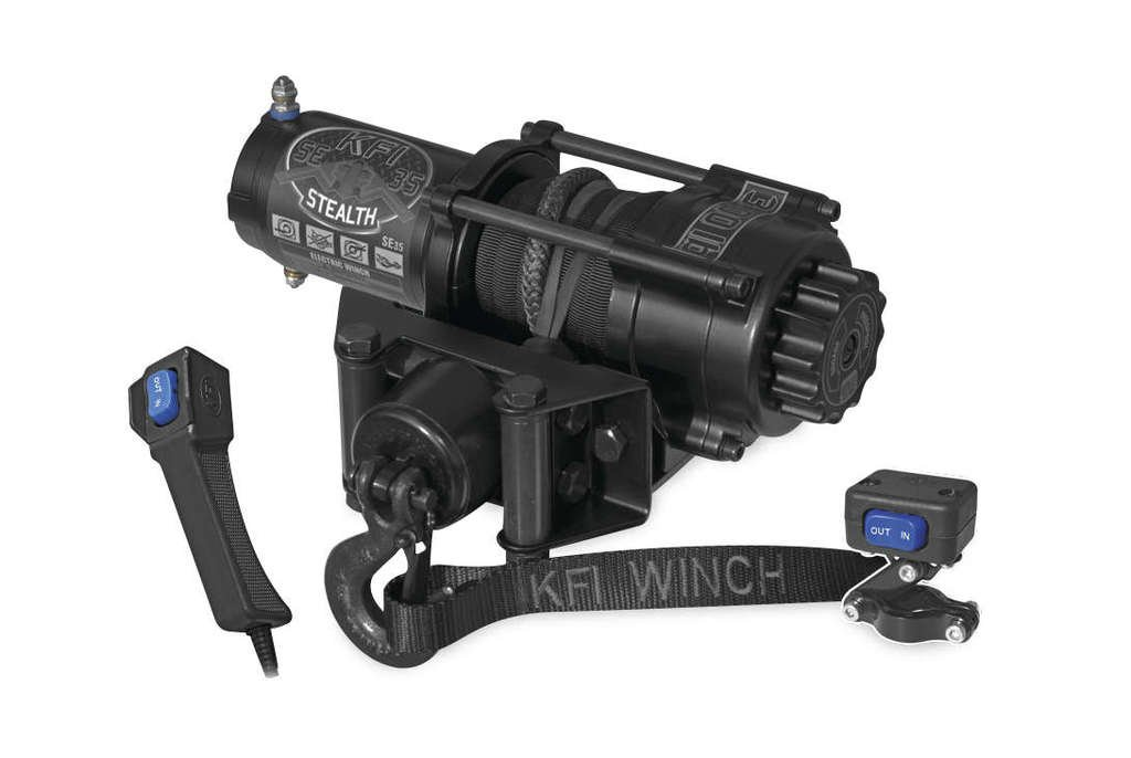 New KFI 3500 lb Stealth Edition Winch & Model Specific Mounting Bracket - 1997-1999 Polaris Sport 400 2x4 ATV