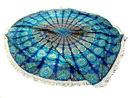 - Americana Decor's Mandala Round Roundie Beach throw, tapestry Hippy Boho Tablecloth Beach Towel blue With Boho Jewelry Earrings