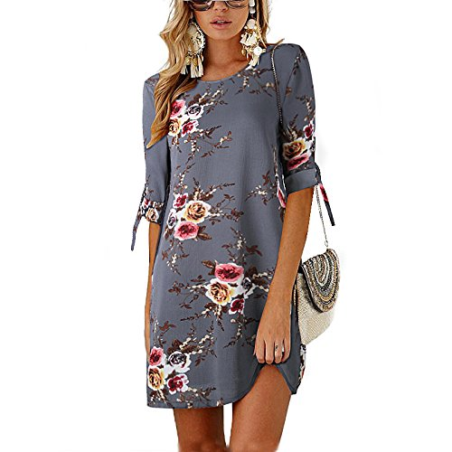 Poptem Women's Summer Dress Chiffon Floral Printed Loose Dress Round Neck Casual Shift Dress Tunic Sundress