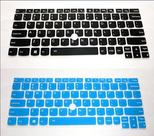 US layout Keyboard Protector Skin Cover for Lenovo ThinkPad X270 X260 X250 X240 yoga 260 370 with BingoBuy Card Card Black + Blue BingoBuy 2-Pack
