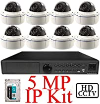 USG 5MP IP CCTV Kit: 1x 8 Ch @ 5MP NVR + 8x 5MP IP PoE 2.8-12mm Dome Cameras + 1x 3TB HDD *** Ultra High Definition Video Surveillance For Your Home or Business!