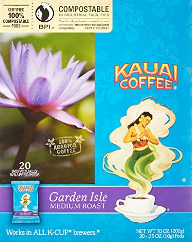 Kauai Coffee Single-serve Pods, Garden Isle Medium Roast – 100% Premium Arabica Coffee from Hawaii's Largest Coffee Grower, Keurig-Compatible Cups - 120 Count by Kauai