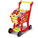 kids shopping trolley - Shopping Cart Toy, Seprovider Kids Supermarket Cart Simulation Shopping Trolley Toy with 27 Pieces of Fruits, Vegetables, Food, Pretend Play Toy Grocery Cart Yellow/Red