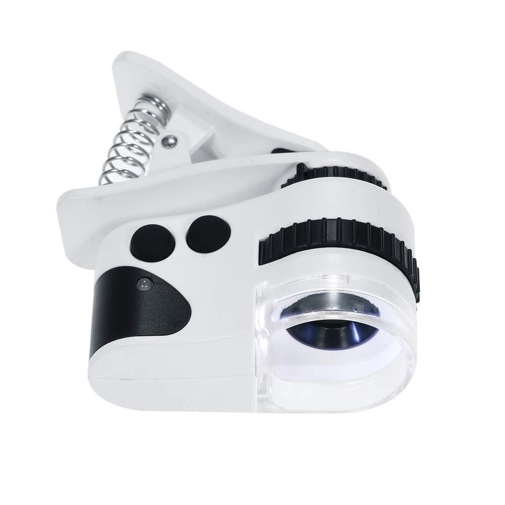 KKmoon 60X 10mm LED tel/éfono celular microscopio recargable tipo rotatorio Universal Clip-type tel/éfono m/óvil lupa microscopio con LED l/ámpara//luz UV//cable USB lupas lupa