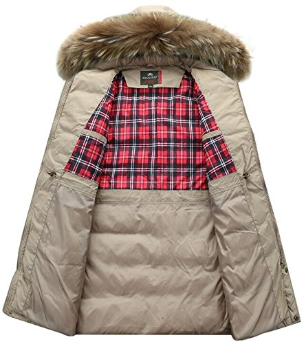 Lingswallow Men's Winter Thicken Khaki Faux Fur Hooded Long Down Jacket Coat by Lingswallow (Image #2)