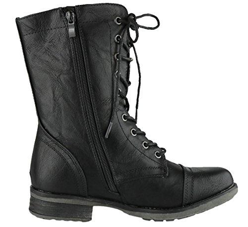Bota De Cremallera Interior Con Cordones Cambridge Select Mujeres Combat Military Mid-calf Negra