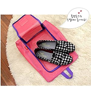 EUTTEUM Pink Portable Travel shoe bag Zip view window Pouch Storage waterproof Organizer