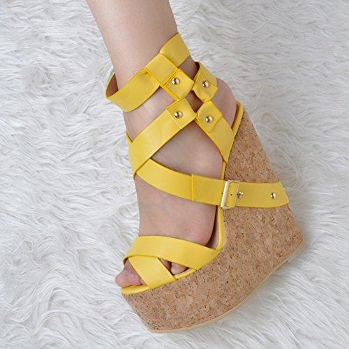 Summer Sandals Yellow Wadge Ladies Heel Toe Open CASSOCK Handmade Shoes Cross 78Hwxv6q