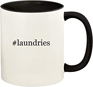 #laundries - 11oz Hashtag Ceramic Colored Handle and Inside Coffee Mug Cup, Black