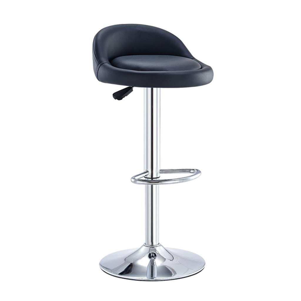 Barstools High Chair Metal Bar Stools   Tall Chairs for Kitchen Breakfast   Counter Chair with PU Leather Seat Adjustable High 6080cm (Black) Vintage Bar Stools