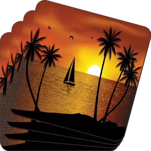 Rikki Knight Silhouette Boat Palm Trees on Sunset Design Soft Square Beer Coasters (Set of 2), Multicolor (Palm Tree Dinnerware Sets)