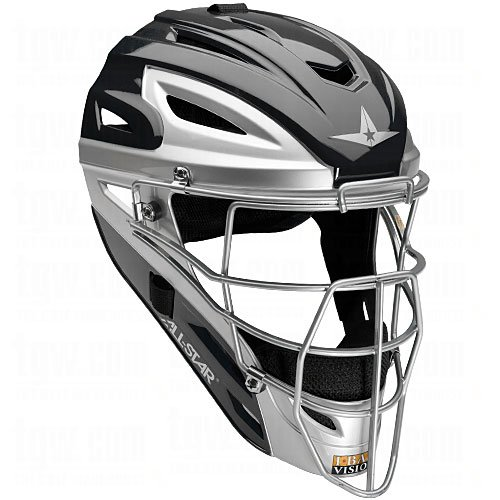 All Star Adult Pro Model 2-Tone Blk/Sil Catcher's Helmet