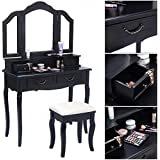 Mefeir Princess Dressing Table Stool with Mirror, Gloss Bedroom Vanity Wooden Set, Girl Small Makeup Seat Saving Room Compact (3 Mirrors 4 Drawers Set, Black)