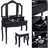 Mefeir Princess Dressing Table Stool with Mirror, Gloss Bedroom Vanity Wooden Set, Girl Small Makeup Seat Saving Room Compact (3 Mirrors 4 Drawers Set, Black) For Sale