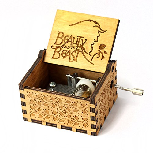 Beauty and the Beast Music Box- 18 Note Mechanism Antique Carved Wooden Music Box Crafts (Beauty and the (Musical Movement)