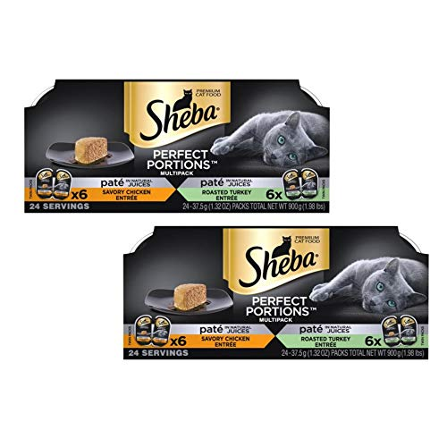 SHEBA PERFECT PORTIONS Soft Wet Cat Food Paté Savory Chicken Entrée and Roasted Turkey Entrée Multipack, (24) 2.6 oz. Easy Peel Twin-Pack Trays