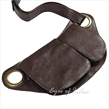 0a87f2c38 Amazon.com  Eyes of India - Brown Leather Belt Waist Bum Hip Pouch Bag  Utility Fanny Pack Pocket Travel  Sports   Outdoors