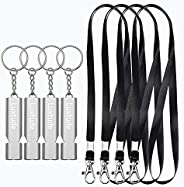 Luxtude Emergency Whistle Survival Whistle with Lanyard-4 Pack