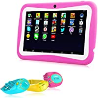 HD 7 Inch Kids Tablet, Hipo Android 4.4 Kids Pad Tablet With GPS Tracker Kids Smart Watch Phone Wifi and Dual Camera 512MB/8GB Quad Core Kids APP IPS Display Touch Screen-Pink