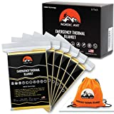 Nordic Ant Emergency Mylar Thermal Blankets (6-Pack) + BONUS: Carry bag + eBook | Silver/Gold Color - Foil Space Blanket: NASA Technology - Survival gear, Hiking, Outdoors, Marathons or First Aid Kit