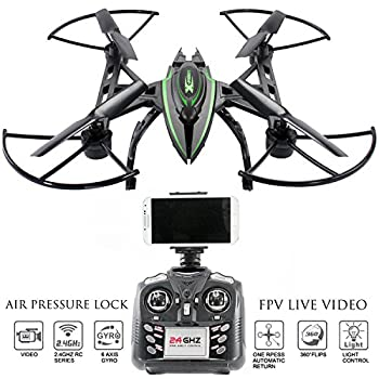 Drone with Camera Live Video – Predator FPV VR Quadcopter, Virtual Reality First Person View Flight in Real Time, Air Pressure Sensor Attitude Lock, Easy Control Headless Mode, Return Home Key