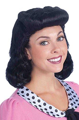 Forum Novelties Women's 40's Housewife Lady Costume Wig, Black, One Size -